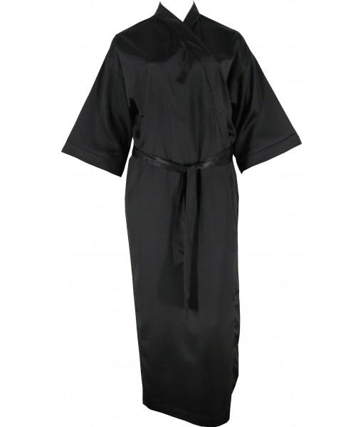 Full Length Black Satin Robe / Dressing Gown