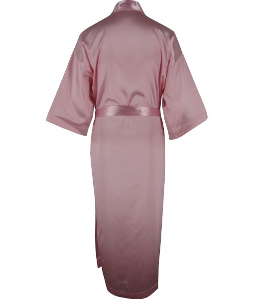 Full Length Pink Satin Robe / Dressing Gown