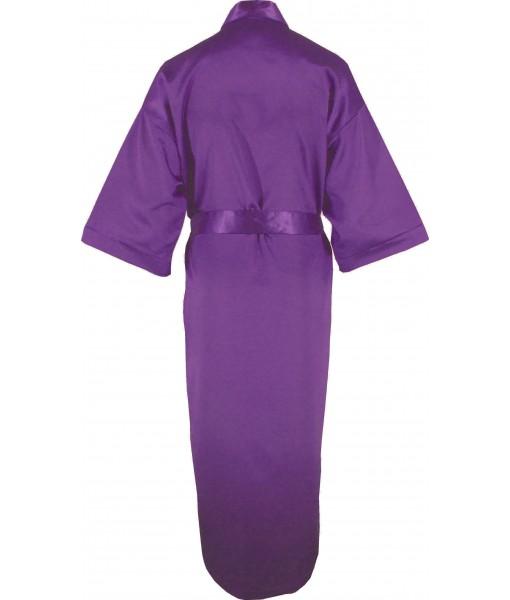 Full Length Purple Satin Robe / Dressing Gown