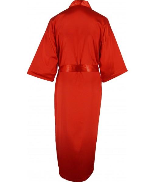 Full Length Red Satin Robe / Dressing Gown