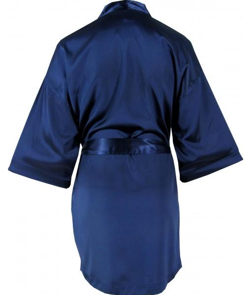 Navy Satin Robe / Dressing Gown