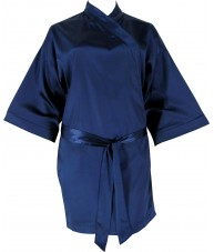 Navy Satin Robe / Dressing Gown