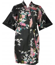 Black Satin Robe With Peacocks & Cherry Blossoms