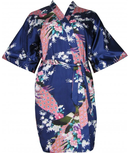 Navy Blue Satin Robe With Peacocks & Cherry Blossoms