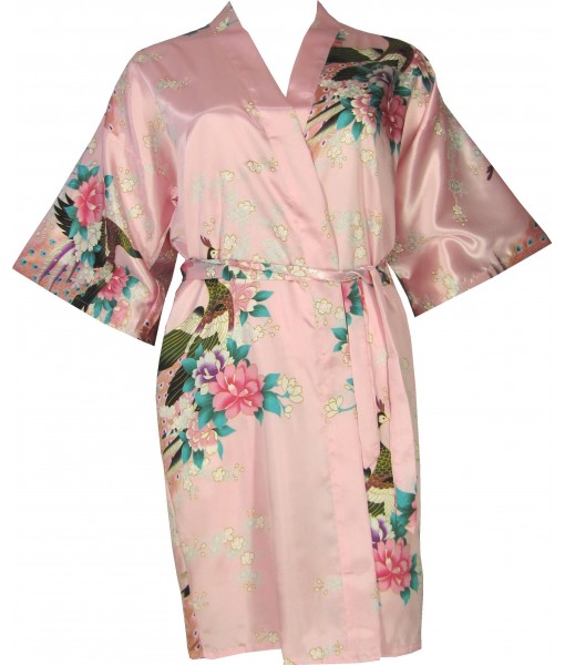 Pink Satin Robe With Peacocks & Cherry Blossoms
