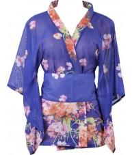 Short Blue Kimono Robe With Cherry Blossoms