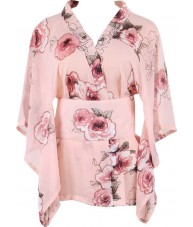 Short Pink Kimono Robe With Cherry Blossoms