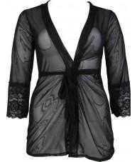 Short Black Chiffon & Lace Robe