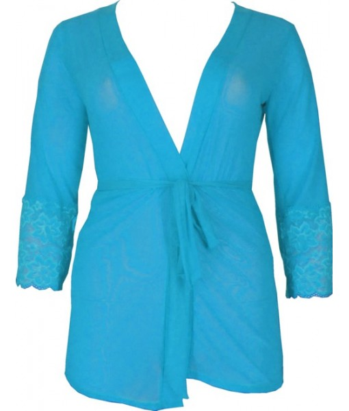 Short Blue Chiffon & Lace Robe