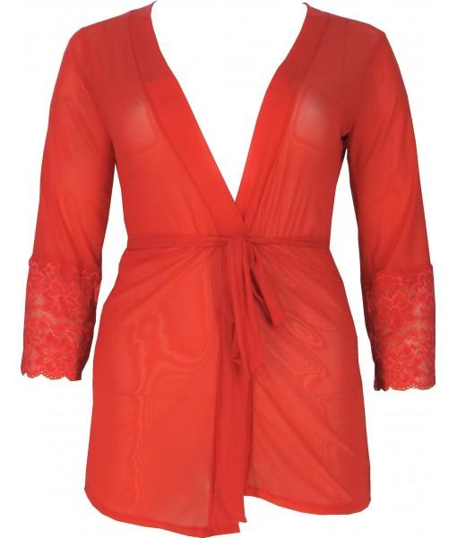 Short Red Chiffon & Lace Robe