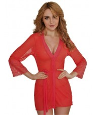 Short Red Chiffon & Lace Robe