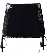 Black PVC Mini Skirt With Ribbon Sides