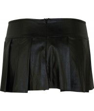 Black Mini Skirt Pleated Faux Leather