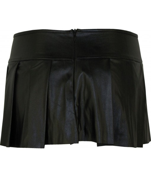 Black Mini Skirt Pleated Faux Leather