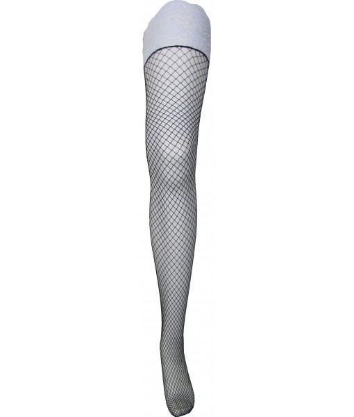 Black Fishnet Stockings With Lace Upper