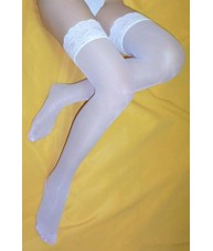 White Stockings Sheer with Elastic Lace Tops