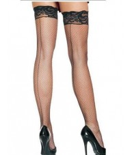 Black Fishnet Stockings Small Weave Pinstripe