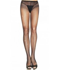 Black Fishnet Stockings Small Weave With Rhinestones