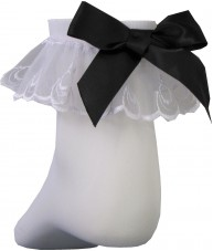 White Ankle Length Stocking Lace Trim Black Satin Bow