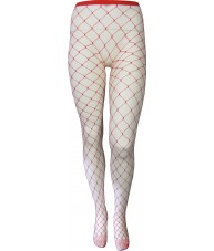Red Fishnet Stockings Full Length Large Weave