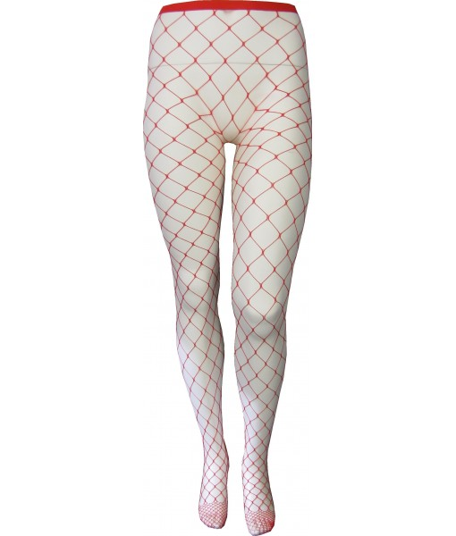 Red Fishnet Stockings Full Length Large Weave