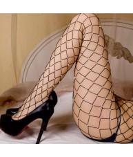 Large Diamond Weave Fishnet Stockings - Black with Diamante