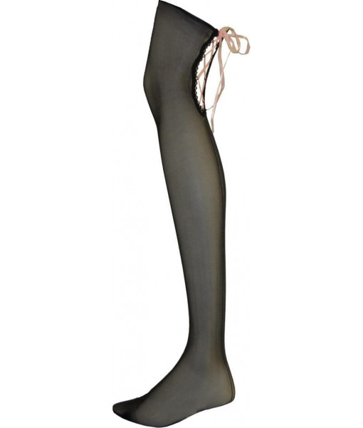 Sheer Black Tie Up Stockings