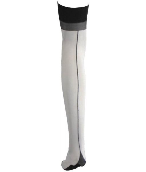Sheer White Stockings With Cuban Heel