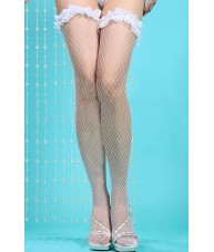 Medium Weave White Fishnet Stockings With Frilly Lace
