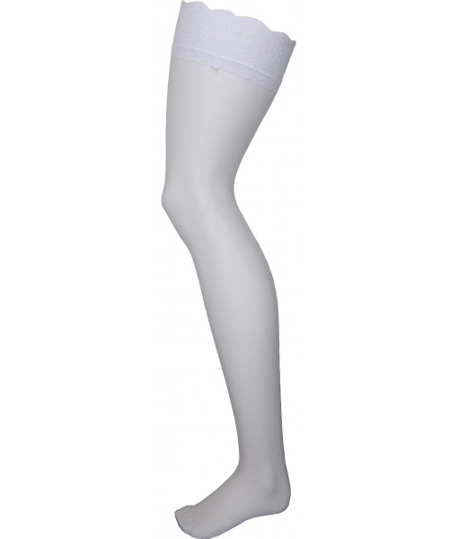 White Stockings With Love Heart Pinstripe