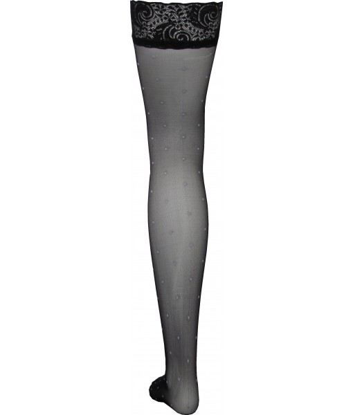 Thigh Length Black Stockings with Polka Dots Throughout