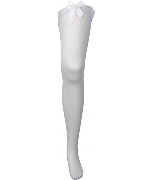 Thigh Length White Stockings with Lace & Pearls