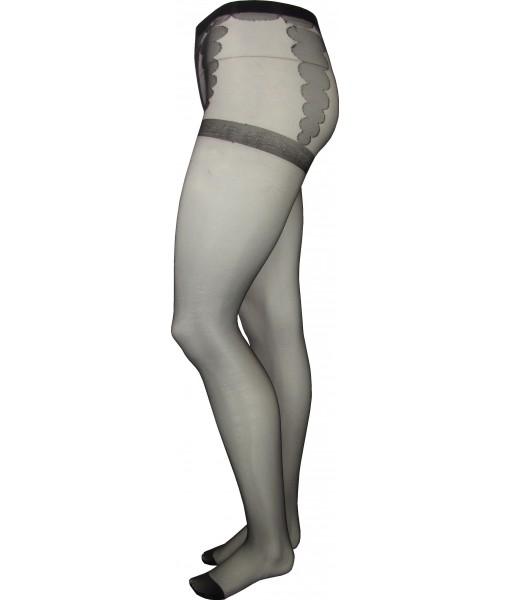 Ladies Full Length Black Stockings Control Tops