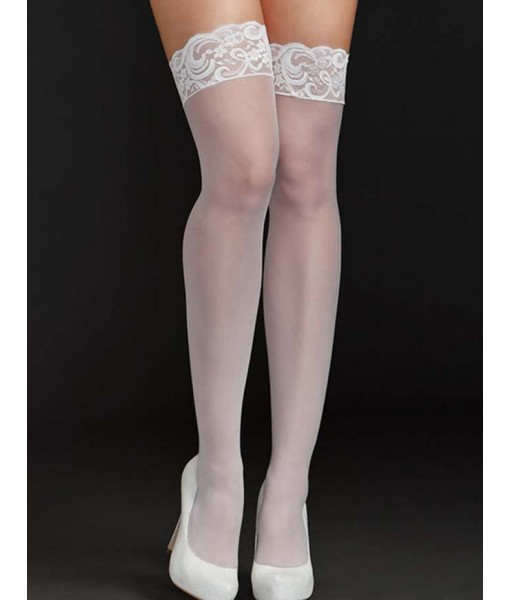 White Stockings Thigh High Lace and Silicone Upper