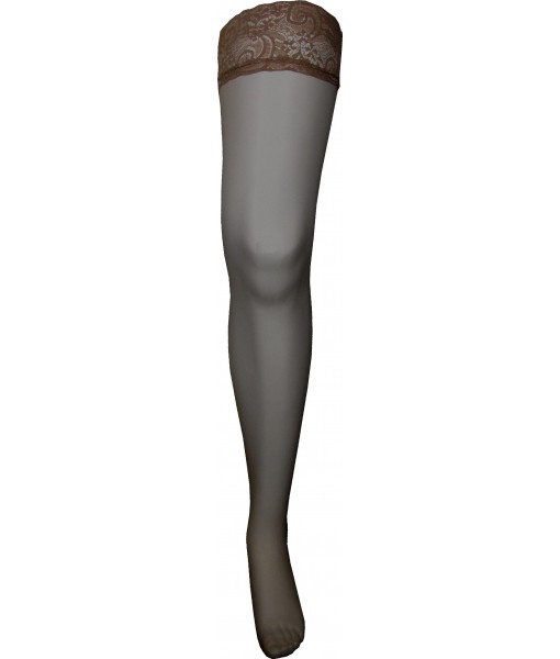 Coffee Stockings Thigh High Lace and Silicone Upper