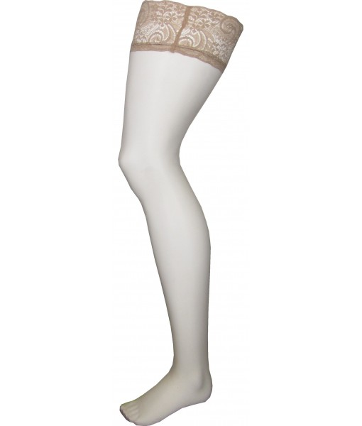 Beige Stockings Thigh High Lace and Silicone Upper