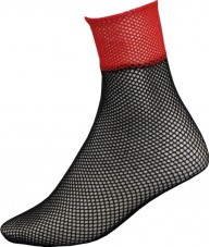 Black Ankle Length Fishnets With Red Tops