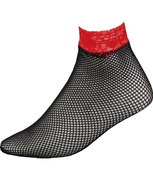 Black Ankle Length Fishnets With Red Lace