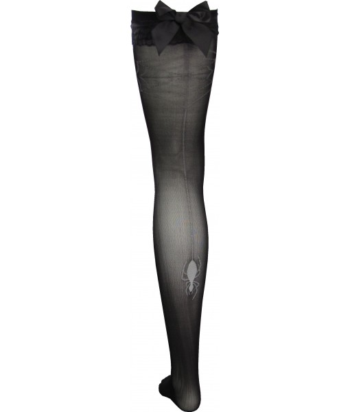 Spider Web Stockings Black Thigh High with Satin Bows