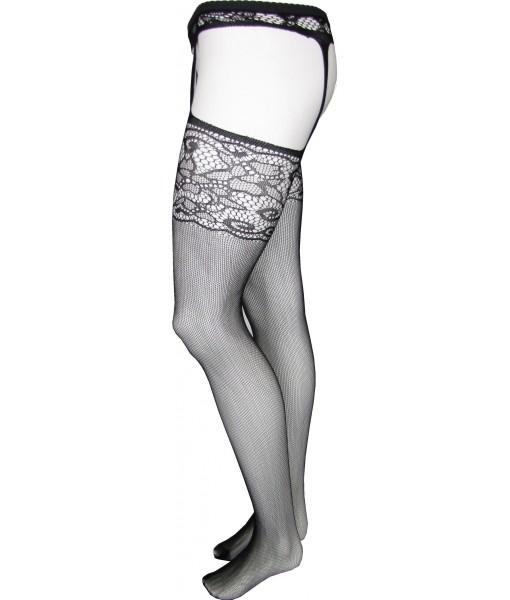 Black Fishnet Stockings with Attached Garter Belt