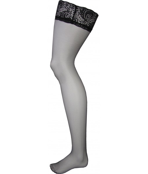 Black Stockings Thigh High Lace and Silicone Upper