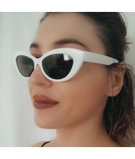 White Retro Cat Eyes Shades Sunglasses by Chach
