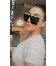 Retro Shield Your Eyes Fluro Green with Blue Mirror Sunglasses by Chach