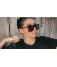 Black Smoke Metal Shield Retro Sunglasses by Chach