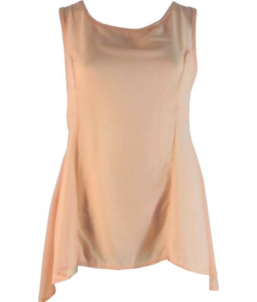 Flared Chiffon Peach Top With Lace
