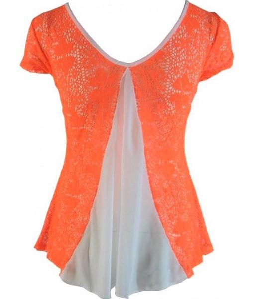 Orange Crochet Floral Top
