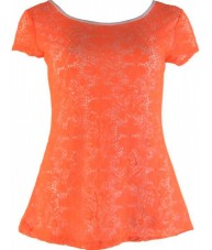Orange Crochet Floral Top