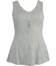 Mint And Ivory Flared Top