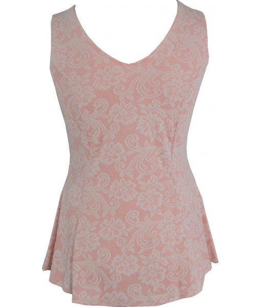 Pink And Ivory Flared Top