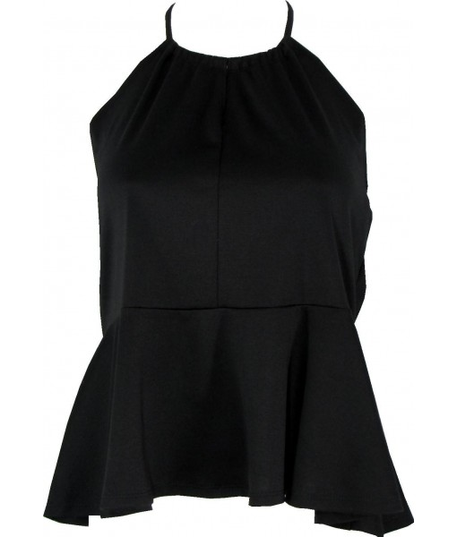 Black Peplum Halter Top